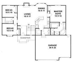 First Floor Plan of Traditional   House Plan 62640 1417 sqft huge pantry