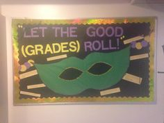 Mardi Gras themed bulletin board