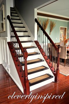 DIY Iron Spindles for a Staircase: Video - Cleverly Inspired Open Staircase, Staircase Railings, Stairways, Banisters, Staircase Walls, Staircase Ideas, Carpet Stairs, D House, House Stairs