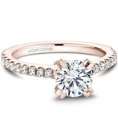 Noam Carver - Bridal Mount - B002-01RA, priced from $1,945, Noam Carver Engagement Ring #diamondring #diamond #engagementring #bling #engaged #pink #pinkgold  sold at Barthau Jewellers, www.barthau.com