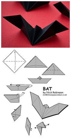 Bat paper artr halloween paper art www loveitsomuch com art artr bat halloween paper wwwloveitsomuchcom Origami Design, Origami Simple, Instruções Origami, Simple Origami For Kids, Origami Tattoo, Origami Envelope, Dollar Origami, Origami Ideas, Origami Paper Art