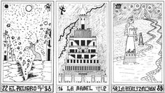 El tarot Profetico de Babilonia by Alba Arigos published by Editorial Keir in Buenos Aires, Argentina in 1991. This contained a series of 72 black and white illustrations of a tarot based on the Epic of Gilgamesh. It does not follow the full tarot structure as there does not appear to be any suits as such, but many of the first 22 cards link to the familiar tarot images. Spanish text. There are so many interesting things still to discover about modern tarot.