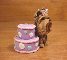 Original Yorkie Yorkshire Terrier Birthday Dog Sculpture Claydogz Mandyo OOAK | eBay