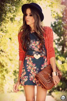 Vestido Corto Estampado de Flores