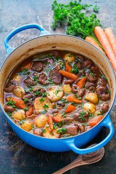 Lamb Stew Recipe - NatashasKitchen.com Diced Lamb Recipes, Lamb Casserole Recipes, Casserole Dishes, Meat Recipes, Cooking Recipes, Healthy Recipes, Oxtail Recipes, Savoury Recipes, Recipes Dinner