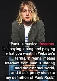 A amazing quote by Kurt Cobain.P, man. It makes me sad that they're isn't many bands around quite like Nirvana. Hopefully sometime soon music will get better, Become more real and deep. Nirvana was mazing. Music Love, Music Is Life, Definition Of Punk, Jimi Hendricks, Estilo Punk Rock, Musica Salsa, Alternative Rock, Rock Poster, Joe Strummer