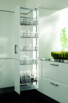 Tall larder pull outs designed and produced in Italy are an essestial part  of the hpp kitchen wirework collection cc269d2dd1