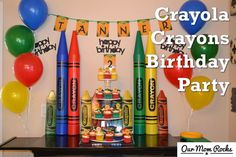Crayola crayon birthday party, food, decorations, tips and more - Follow this blog on Our Mom Rocks https://www.facebook.com/ourmomrocks/ and at www.OurMomRocks.com