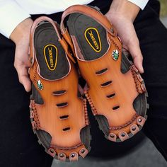 Brand: No Shoe Type: Sandals Toe Type:Round Toe Closure Type: Slip On Gender: Male Occasion: Casual,Outdoor,Daily Season: Summe Color: Yellow Brown, Brown Material: Upper Material: Cow Split Leather Outsole Material: Rubb Fashion Sandals, Fashion Boots, Mens Fashion, Sandals 2018, Buy Shoes Online, Justin Boots, Mens Slippers, Leather Sandals, Men Sandals