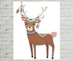 Deer Art Print, Deer Nursery Decor, Deer Art, Deer Nursery, Nursery Wall Art, Tribal Nursery Art, Nursery Art Animals, Nursery Prints
