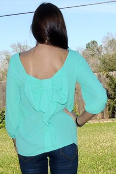 Monica's Closet Essentials | Mint Bow Back Blouse | Online Store Powered by Storenvy