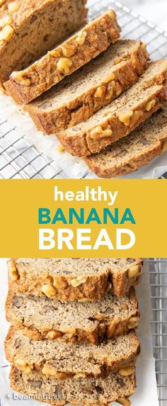Healthy Banana Bread Recipe: unbelievably delicious banana bread that just so happens to be healthy! Moist 'n rich with cozy banana flavor and incredible texture—you won't be able to resist! #BananaBread #Healthy #Banana   Recipe at BeamingBaker.com Ripe Banana Recipes Healthy, Banana Bread Recipes, Almond Recipes, Healthy Dessert Recipes, Healthy Baking, Vegan Banana Bread Healthy, Healthy Muffins, Vegan Snacks, Healthy Desserts