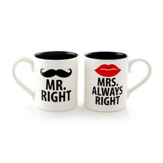 Always Right Stoneware Couple Coffee Mug Set - Valentine Special at ) Coffee Cup Set, Best Coffee Mugs, Funny Coffee Mugs, Coffee Humor, Funny Mugs, Classic Wedding Gifts, Great Wedding Gifts, Couples Coffee Mugs, Couple Mugs