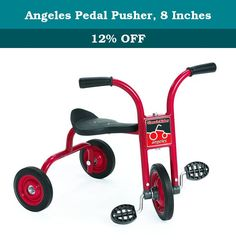 Angeles Pedal Pusher, 8 Inches. Comfort back support. Heavy duty rubber handgrips. Durable welded steel frame. Recessed no pinch hub design. Long lasting, self lubricating nylon bearings. One piece welded crank. Non exposed pedal hardware. Solid rubber tires on spoke less steel wheels. Recommended for ages 2 years. Guarantee: Five years. Warranty: Five years. Red color. Fully assembled in U.S.A.. No assembly required. Seat height: 12.5 in. H. Handlebars height: 19.5 in. H. Weight: 13 lbs.