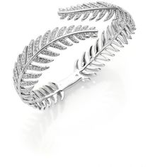 Adriana Orsini Plume Pave Crystal Bypass Bracelet/Silvertone (204 CAD) ❤ liked on Polyvore featuring jewelry, bracelets, apparel & accessories, silver, adriana orsini, pave crystal jewelry, pave bangle, silvertone jewelry and crystal jewelry
