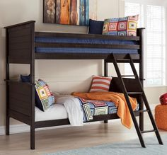 Jaysom Black Twin Wood Bunk Bed Signature Design by Ashley