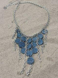 Denim Necklace Tiered Denim and Chain by maidendenim on Etsy