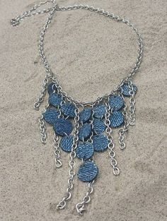 Denim Necklace Tiered Denim and Chain by maidendenim on Etsy