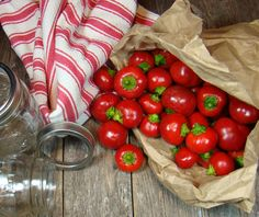 I'm swamped with Cherry Peppers! I'm making these this weekend! Pickled Cherry Peppers - My favorite pickle! Pickled Hot Cherry Peppers Recipe, Pickled Pepper Recipe, Cherry Bomb Pepper, Cherry Pepper Recipes, Pickled Cherries, Canned Cherries, Fermentation Recipes, Canning Recipes, Canning 101