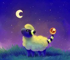 Mareep at Night by snuddi.deviantart.com on @DeviantArt