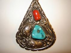 Vintage Native American Large Turquoise Coral Pendant by BathoryZ, $139.00