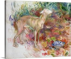 Premium Thick-Wrap Canvas Wall Art Print entitled Laerte the Greyhound, 1894 (oil on canvas), None