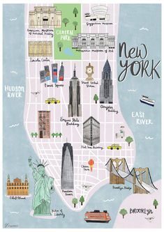 New York map illustrated print - Sarah Frances – Mapsy - Cestování - Art New York City Vacation, New York City Map, New York City Travel, Map Of Nyc, Ny Map, City Maps, New York Shopping, Visit New York City, Shopping Travel