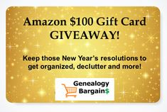 Giveaway: Amazon $100 Gift Card from Genealogy Bargains Genealogy Organization, Organizing, Disney Movie Rewards, Instant Win Games, How To Remove, How To Get, Visa Gift Card, Family Genealogy, Gift Card Giveaway
