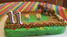 Horse and (male) rider birthday cake I made for Kiddo's 11th birthday.  * GF chocolate cake, frosted with green buttercream.  * GF pretzels for fence (you could use dipped pretzels for white fence).  *Crushed GF graham crackers for dirt, with mini chocolate chips sprinkled on for poop. :)  *Homemade Rice Krispie treats cut into hay bales. *Male rider and horse purchased from amazon.com (they have loads of female figures, too.)  *Pre-made Wilton flowers and number candles for final touch.