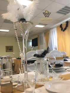 Gatsby Wedding, Art Deco Fashion, Table Decorations, Chair, Furniture, Home Decor, Style, Swag, Decoration Home
