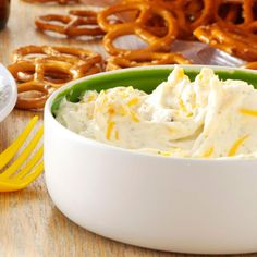 Beer Dip Recipe -Ranch dressing mix flavors this fast-to-fix mixture that's packed with shredded cheese and is made to go with pretzels. It's one of those snacks that when you start eating it, you can't stop! This dip can be made with any type of beer, including nonalcoholic. I've taken it to many parties and am always asked for the recipe. —Michelle Long, New Castle, Colorado