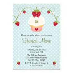 Shop Blue Strawberry Cupcake Birthday Photo Invitation created by OccasionInvitations. 1st Birthday Party Invitations, 9th Birthday Parties, Birthday Cupcakes, Bridal Shower Invitations, 5th Birthday, Cupcake Party, Birthday Ideas, Blue Strawberry, Strawberry Cupcakes