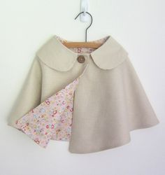SALE Girls Cape   Linen & Cotton  Spring/Summer by OneMe on Etsy, $38.00