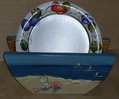 Shop for pottery on Etsy, the place to express your creativity through the buying and selling of handmade and vintage goods. Paper Plate Holders, Paper Plates, Beach Scenes, Kitchen Organization, Serving Bowls, Unique Jewelry, Tableware, Handmade Gifts, Vintage