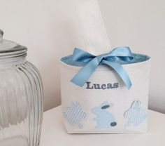 Personalised Easter Baskets with Bunnies by CocoBlueDesign on Etsy