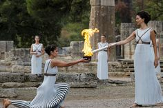 A backup Olympic flame was used Tuesday in Ancient Olympia after unsuitable weather forced the cancellation of a traditional lighting Olympia, Ancient Olympics, Olympic Flame, 2018 Winter Olympics, Olympic Committee, Winter Games, Rome, Actresses, Pyeongchang