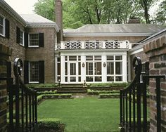 brown federal style, black shutters, white conservatory, my dream manor