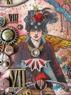 FRIENDS in ART: Steampunk Lady Collage with Finnabair Mechanicals and G45 Steampunk Spells.