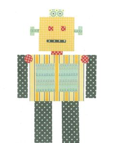Robot Nursery Art PRINT Three Robot Prints 11x14 by justbunch