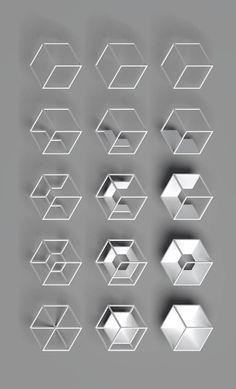 Geometric in Pieter Van den Dorpe Geometric Form, Geometric Designs, 3d Design, Logo Design, Cube Design, Arte Linear, Typographie Logo, Planer Layout, Motifs Textiles