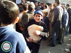 All the children in this world would be happy and thrilled if they receive a toy, except Syria's children. They would feel joy if they got BREAD.