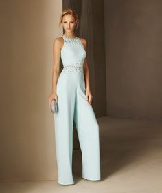 BLASCO - Cocktail jumpsuit fitted at the waist with a halter neckline and gemstones