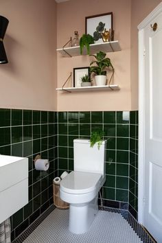 Setting Plaster by Farrow&Ball is a dusty pink is named after the blushing walls we often admire in newly plastered houses. Small Downstairs Toilet, Small Toilet Room, Downstairs Bathroom, Small Toilet Decor, Marble Bathroom Floor, White Marble Bathrooms, Tile Floor, Green Bathroom Tiles, Modern Bathrooms