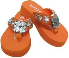 4ff57a0b510cd Hide N Sole Flip Flops - Orange with Western Rhinestones and Longhorn  Medallion-