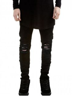 Skinny Fit Zip Fly Jeans with Knee Rips