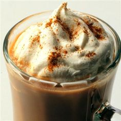 Mexican Dessert Coffee. Here's the recipe:2 cups milk,1/4 cup sugar, 1/4 tsp. cinnamon, 1 cup heavy cream, 1 TBL freeze dried coffee.Heat serve with whipped cream or scoop vanilla ice cream.
