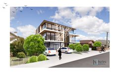 Concept for a new Mixed Use (Apartments, Offices and Retail) Medium Density Development located in Pukekohe.  Home Design New Zealand. Auckland Waikato Coromandel
