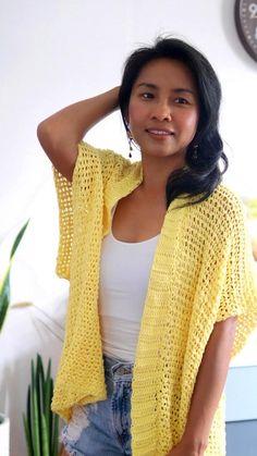 Kimono Pattern Free, Knit Cardigan Pattern, Crochet Cardigan Pattern, Kimono Cardigan, Gilet Crochet, Crochet Coat, Crochet Jacket, Crochet Clothes, Kimono Tutorial
