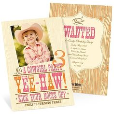 Yee-Haw! Western Birthday Party Invitations cowgirl-birthday-party-from-peartreegreetings-com