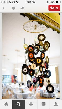 Bike tire with music disks hung from it
